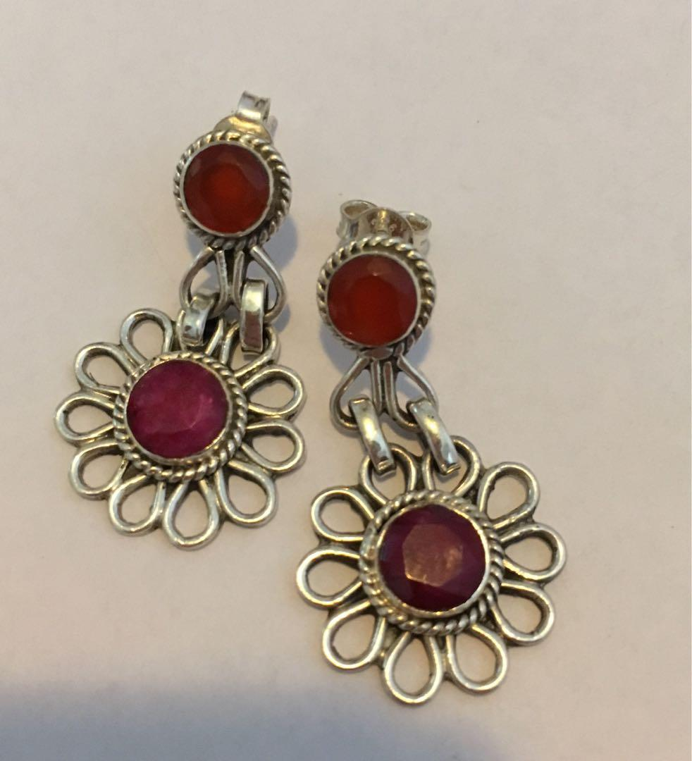 High quality orange calcite & ruby sterling silver earrings