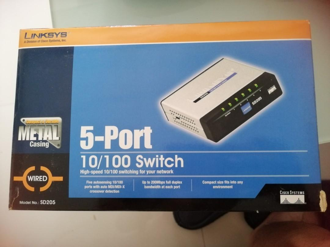 Linksys 5-Port 10/100 switch SD205, Electronics, Computer