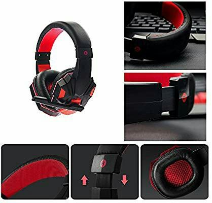 Wired Headset MMHDZ N3000 Gaming Headset Game Headphone with Microphone Revolution Volume Control Noise Reduction LED Light for Windows Android Mac Black+Red