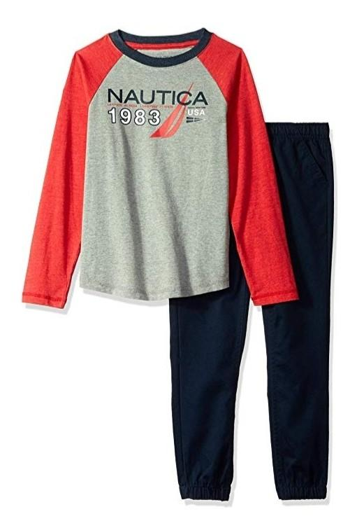 Nautica Boys Toddler Navy & Red 2 piece Set Size 3t
