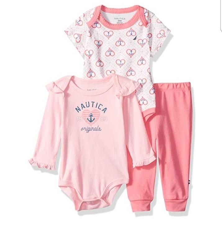 Nautica Baby Girls Pink 3 Piece Romper & Leggings Set Size 12months