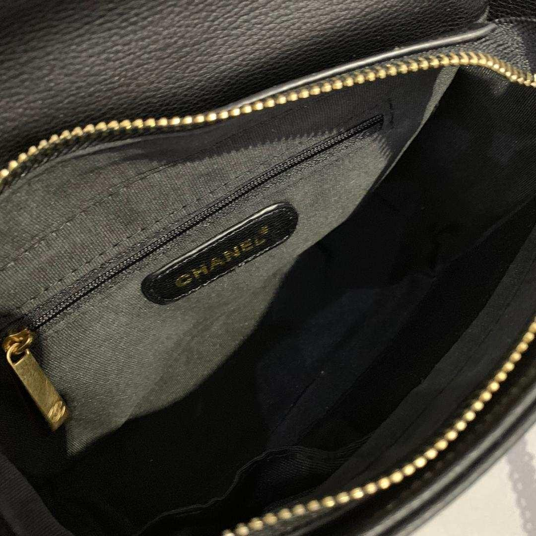 *New* Edition Chanel Flap Logo Embossed Black Bag with Gold Hardware