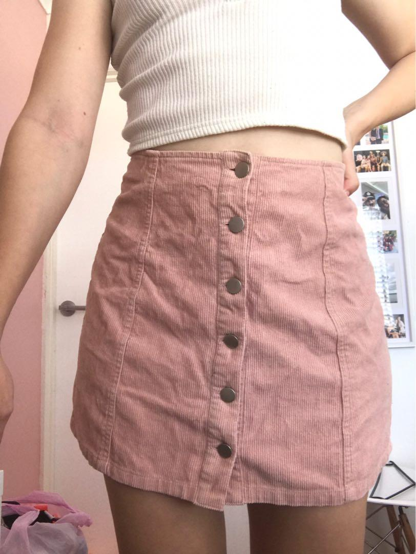 Pink Corduroy Pink Skirt