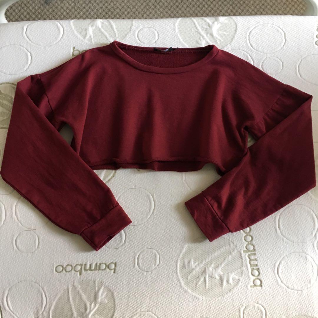 PLT PrettyLittleThing Size 10 Maroon Long Sleeved Ultimate Crop Top