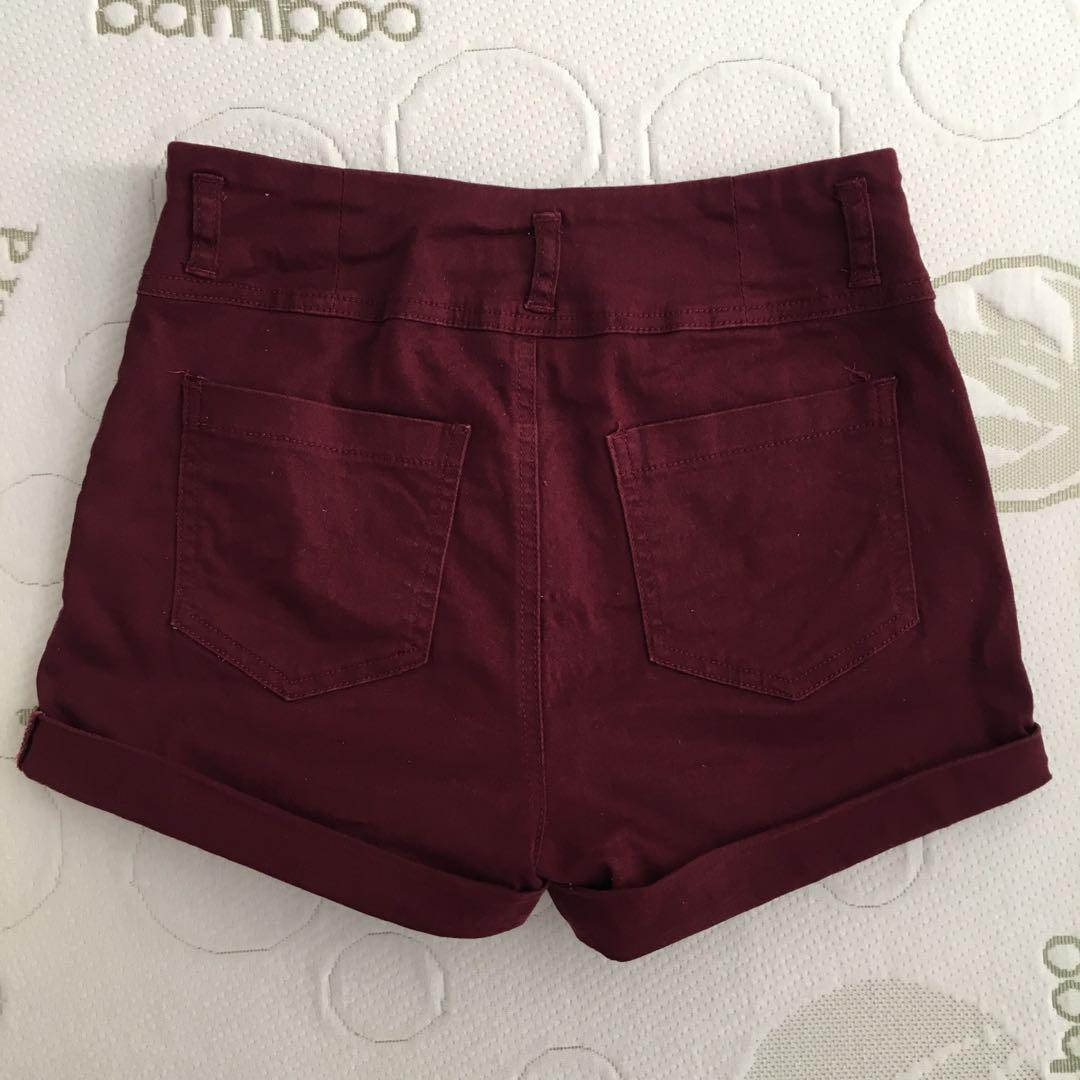 Supre Size 8-10 Stretchy Canvas Maroon High Waisted Shorts