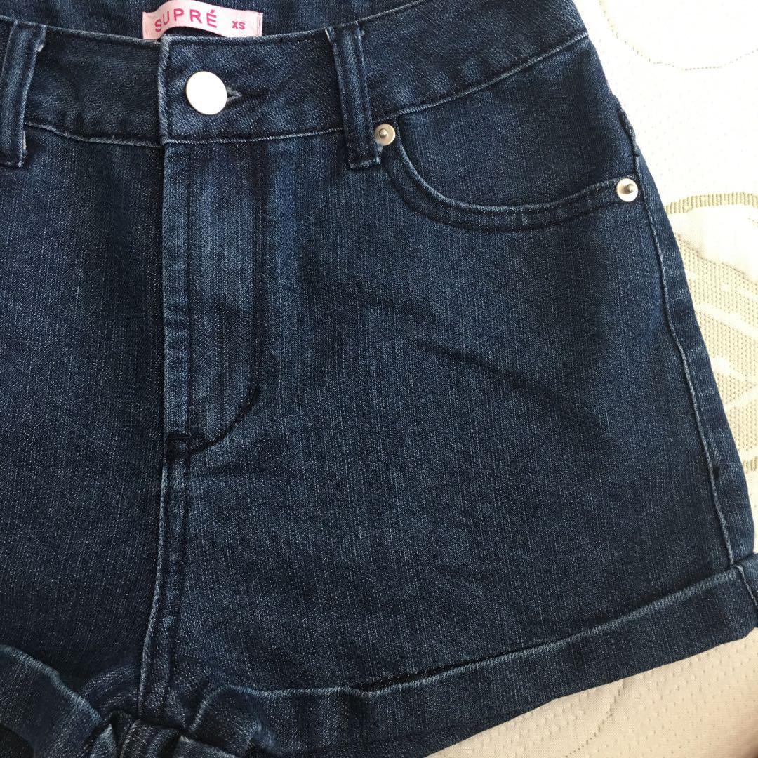 Supre size 8 Dark Blue Denim Cuffed High Waisted Shorts