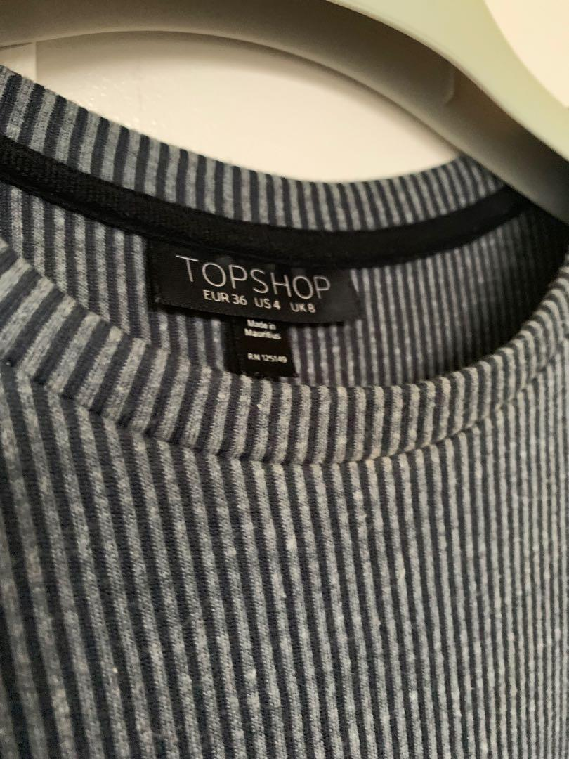 TOPSHOP Dress with drawstring - grey striped - size UK 8
