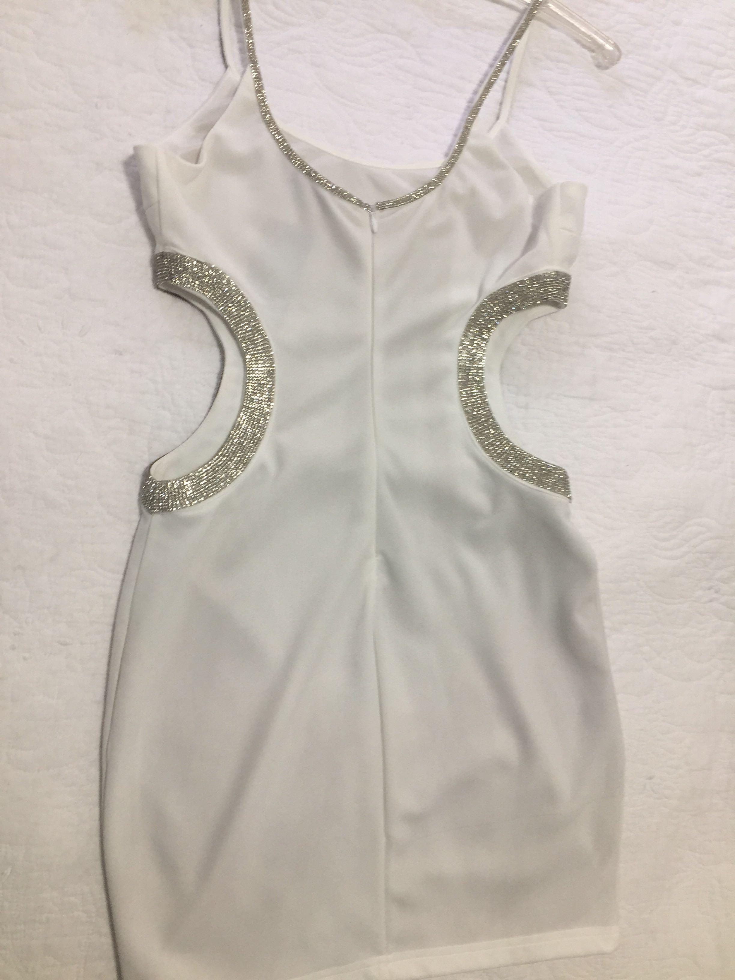 White cut out rhinestone cocktail dress S new with tags