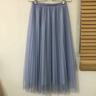 🚚 淺藍百褶紗裙