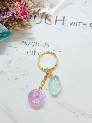 【現貨】雙色夢幻糖果 鑰匙圈
