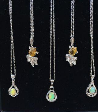 Genuine Citrine & Opal Necklace in 925 Silver Pendants