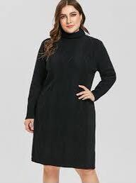 Comfy Black Stretchy Lacy Long-sleeves Dress with Scrunched Turtleneck Collar