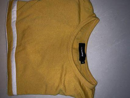 Yellow crop Top with white lines