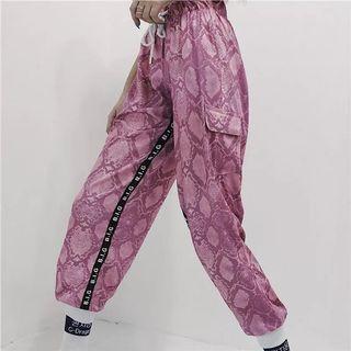 🚚 粉色蟒蛇紋束腳長褲