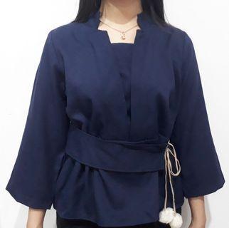 Baju blouse wanita warna navy with v line on neck