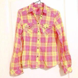 Brand New Authentic H&M Pink Yellow White Stripes Long Sleeve Collar Top