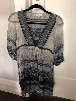Lux navy silk blouse