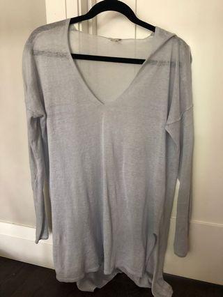 BABATON ice blue linen sweater