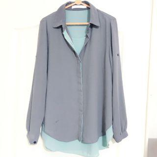 🚚 Defect Bysi Chiffon Blouse Collar Grey Tiffany Cyan Green Turquoise Color Long Sleeves Top