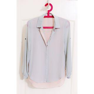 Bysi Chiffon Collar Long Sleeve Top Shirt Pink Pale Light Grey Green Two Layer Cream Buttoned Blouse