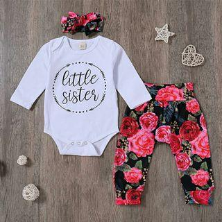 3pcs Set Printed Long Sleeve Romper