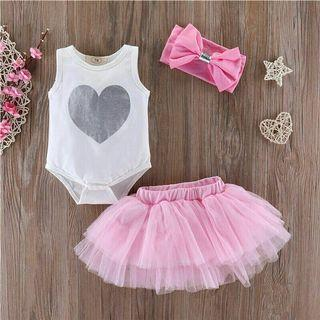 🚚 Baby Girl Clothes Heart-shaped Top