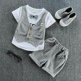 🚚 Baby Boy vest Shirt stripe Shorts Outfit