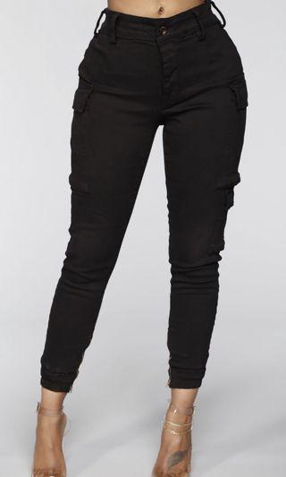 Fashion Nova Kalley Cargo Pants - Black - Size small