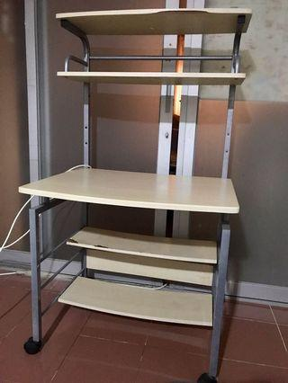 Shelf table rack with castor wheels