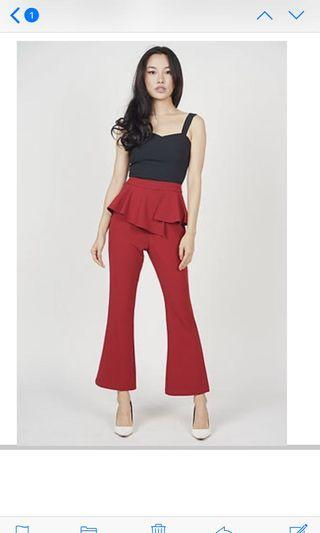 Brand new: MDS Asymmetrical Peplum Pants in red