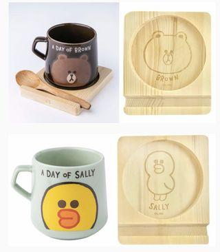 🚚 Line mug set (brown/sally set)