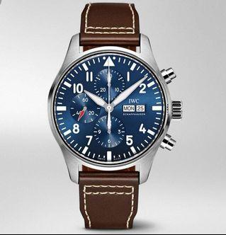 IWC Men's Pilot Chronograph Edition Le Petit Prince Blue Automatic Brown Leather Watch IW377714