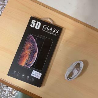 全新iphone黑色玻璃保護貼附充電線(iphone7+/8+適用)