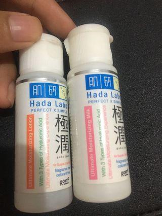 Hadalabo lotion and milk moisturizing