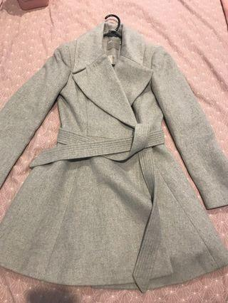 Wool blend grey duster skirt coat