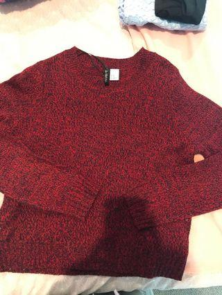 Red knit pullover