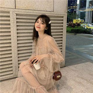 Dress Transparent warna Apricot