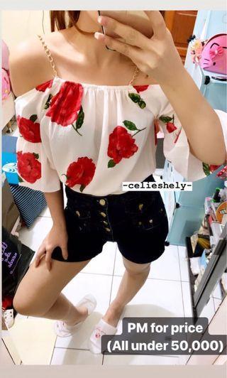 Flower Sabrina Top