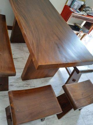 🚚 Solid Wood Dining Table & 2 long benches : teak , very heavy