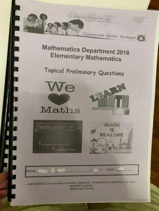 maths prelim exam papers  , e maths ( 2018 )