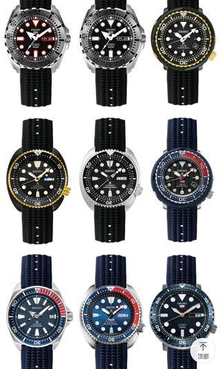 (In Stock) high quality 22mm Rubber MAS62/MM300/SBDX001 design Waffle Strap for Seiko Diver, just tight fit 2.5mm spring bar. Free 1.8mm thick spring bar and tool.