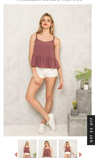 TSW babydoll top in dusty mauve