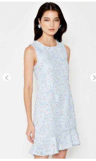 Love and Bravery MONIQUE TWEED SHEATH DRESS LIGHT BLUE M