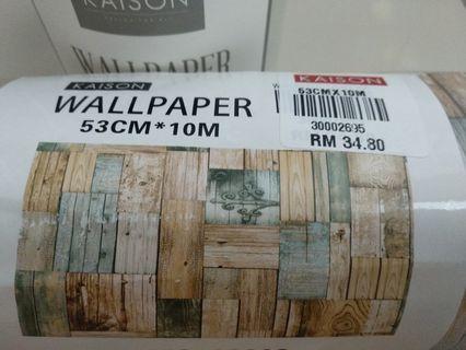 KAISON Wallpaper + Glue Combo (New Design) Big Roll (53cmx10m) Vintage Wood theme