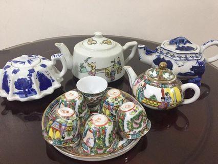 Mini tea pots ( 3 pot , 1 set with 6 cups )