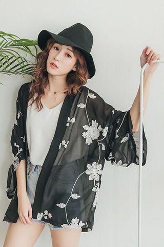 🚚 PUFII花朵刺繡開襟寬袖透膚雪紡罩衫 黑/白