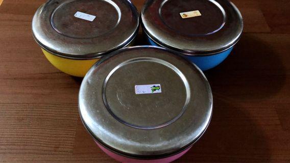 不鏽鋼鐵碗含蓋*3