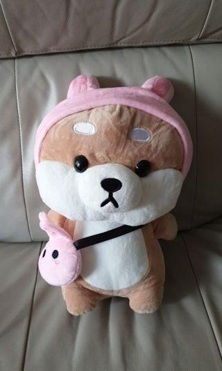 Shiba Dog in Rabbit outfit with Bag