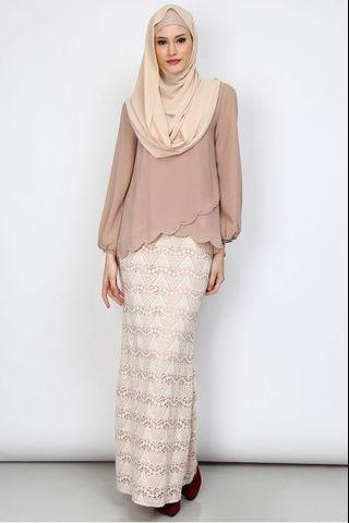 Poplook Faria Blouse & Skirt Set - Beige/ Cream (M)