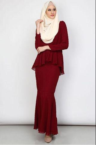 Poplook Elda Blouse & Skirt Set - Burgundy (M)